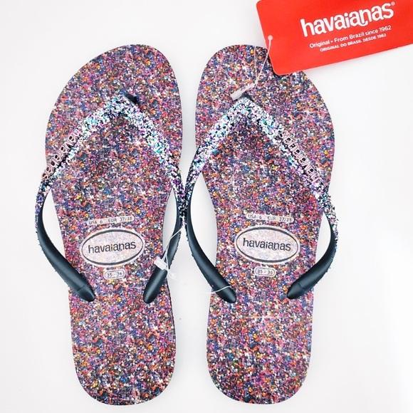 Havaianas Slim Carnival Flip Flops Sandals Glitter